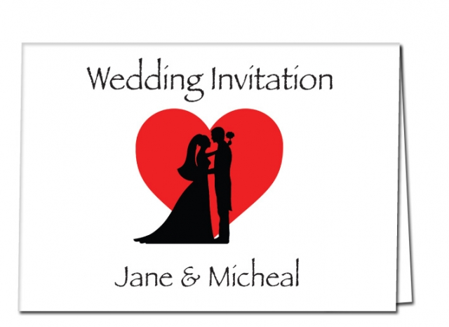 Wedding Invitation Bride and Groom with Heart