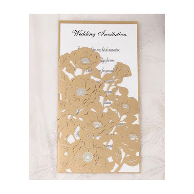 Laser Cut Pocket Gold Flower Design Wedding Invitation