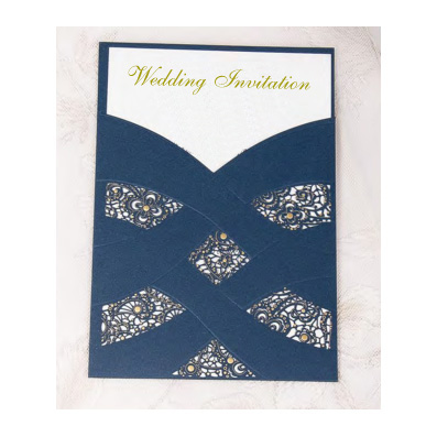 Pearl Pattern Laser Cut Pocket Wedding Invitation