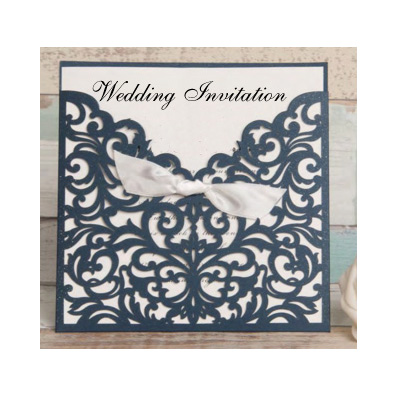 With Bow Wedding Invitation Laser Cut