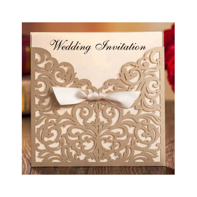 Wedding Invitation Gold With Bow