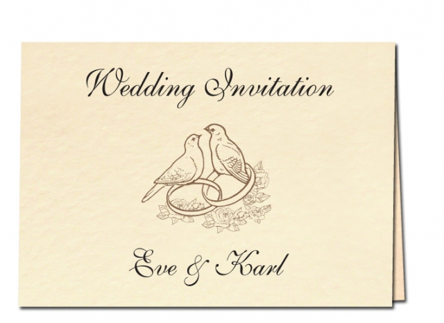 Wedding Invitation Birds and Rings Design