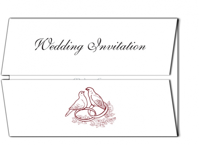 Birds and Rings Double Flap Design Wedding Invitation