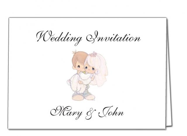 Wedding Invitation Bride and Groom Cartoon