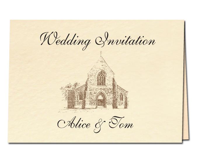 Wedding Invitation Church Drawing
