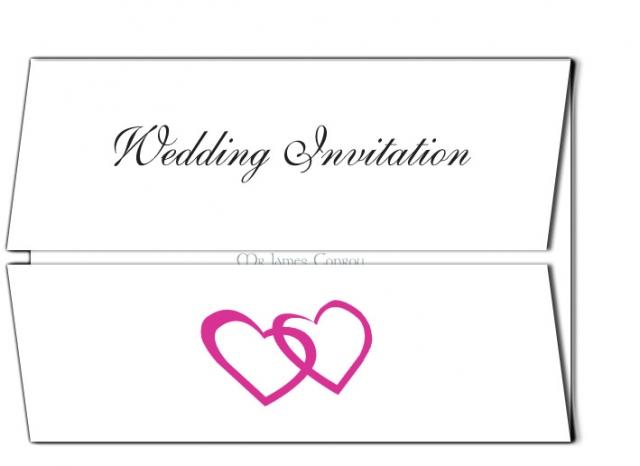 Wedding Invitation Double Heart Design