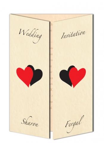 Double Heart Gate Fold Design Wedding Invitation