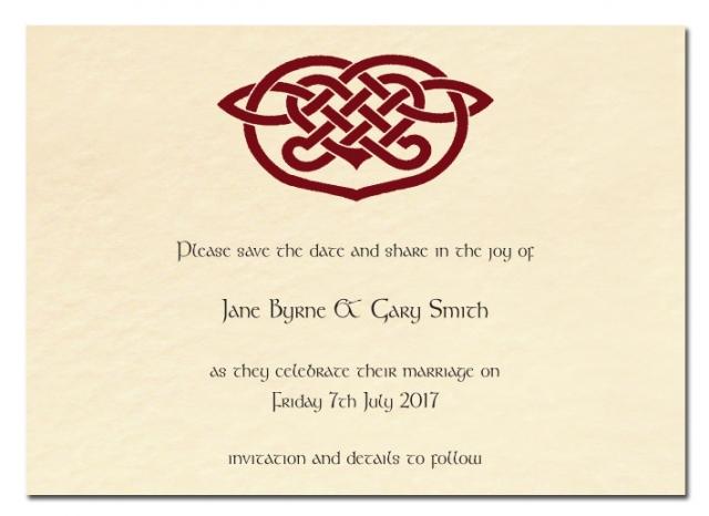 Save The Date Wedding Card Celtic Heart Design