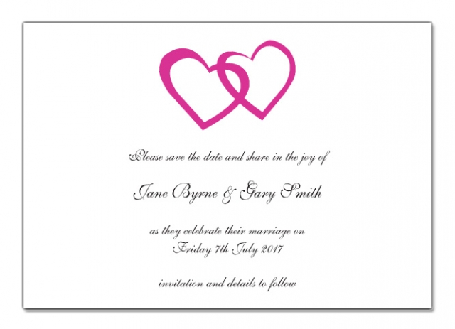 Wedding Save The Date Card Double Heart Design