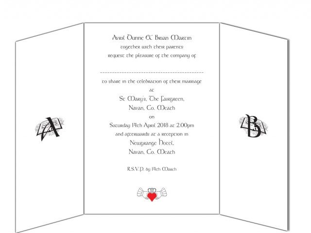 Text for Gate Fold Wedding Invitation