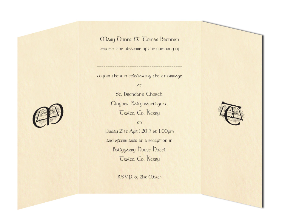 Wedding Text for Gate Fold Invitation
