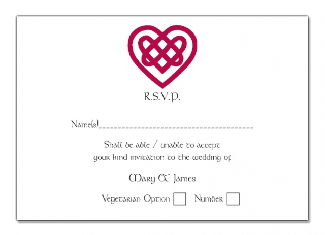 Wedding RSVP Card Celtic Heart Design