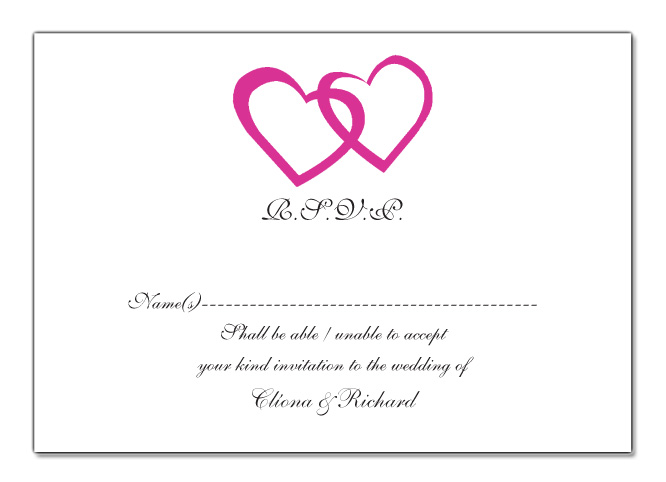 Wedding RSVP Card Double Heart Design
