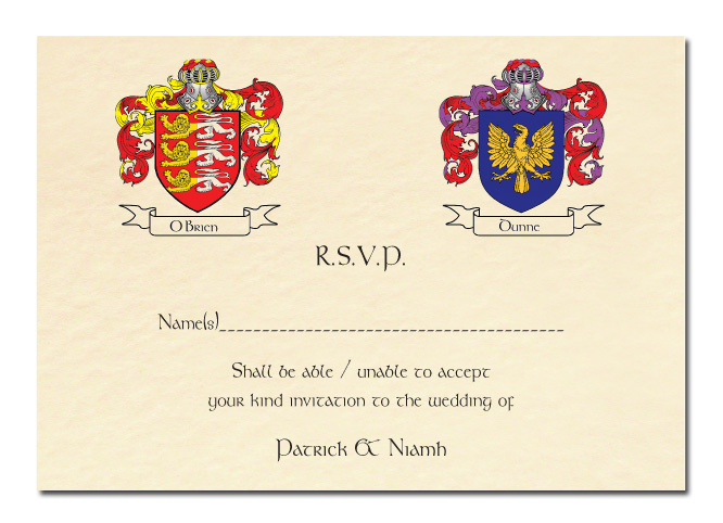 Wedding RSVP Card Family Crest Design