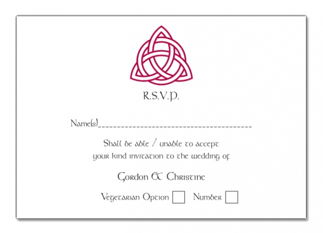 Wedding RSVP Card Trinity Knot Design