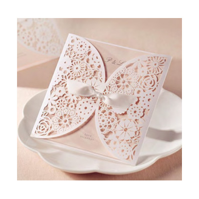 Wedding Invitation White Lace Laser Cut Pocket