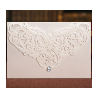White Laser Cut Fold over Pocket with Rhinestone Wedding Invitation