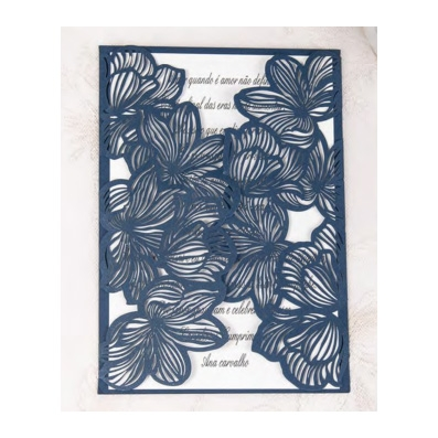 Blue Laser Cut Flower Design Wedding Invitation