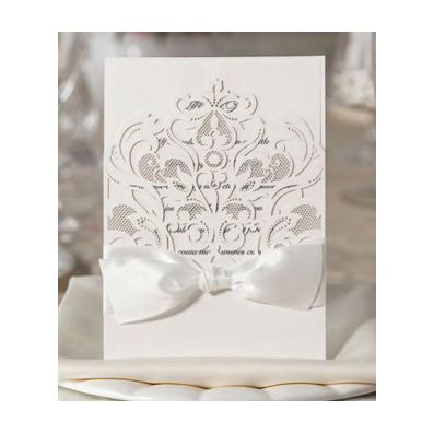 White Laser Cut Pocket with Bow Weddin Invitation