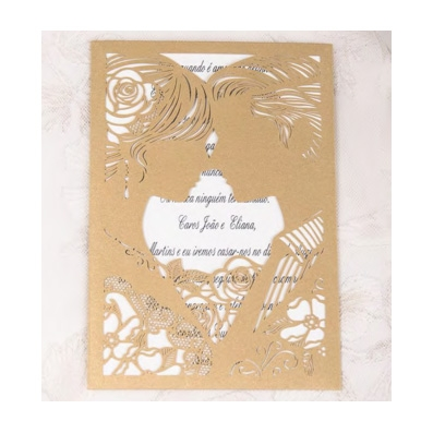 Gold Laser Cut Bride and Groom Design Wedding Invitation