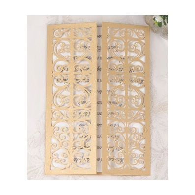 Gold Laser Cut Gate Fold Design Wedding Invitation
