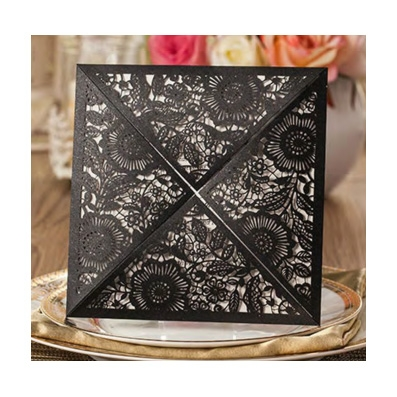 Black Laser Cut Floral Design Wedding Invitation