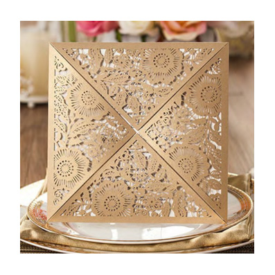 Gold Laser Cut Floral Design Wedding Invitation