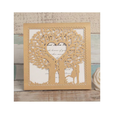 Gold Laser Cut Tree With Heart And Bride And Groom Design