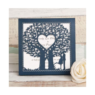Blue Laser Cut Tree Design Wedding Invitation