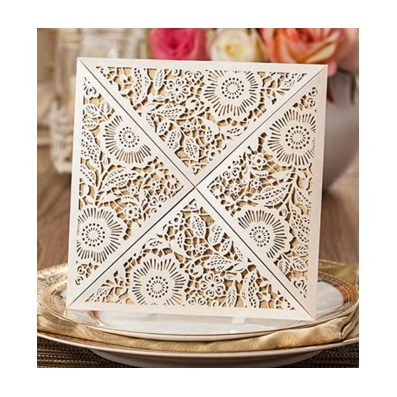 White Laser Cut Floral Design Wedding Invitation