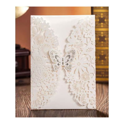 White Laser Cut Butterfly Design Wedding Invitation