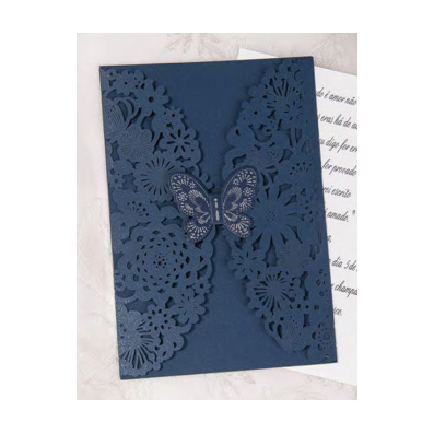 Blue Laser Cut Butterfly Design Wedding Invitation