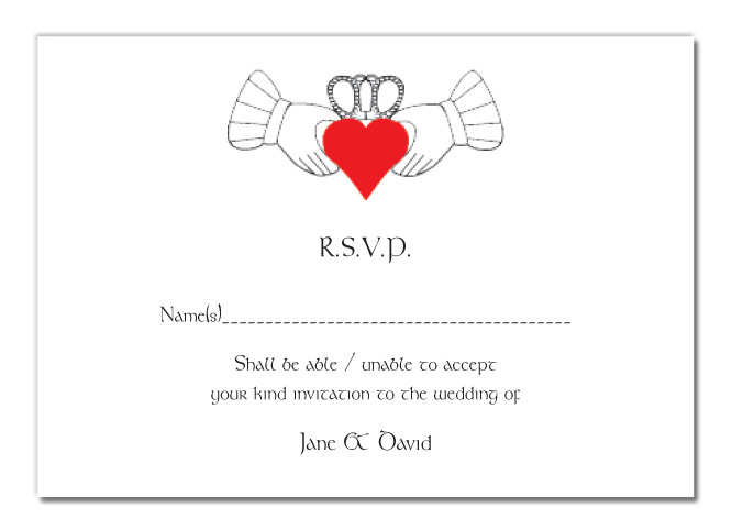 Wedding RSVP Card Claddagh Design
