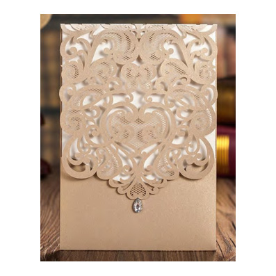 Wedding Invitation Gold Laser Cut Pocket with Rhinestone